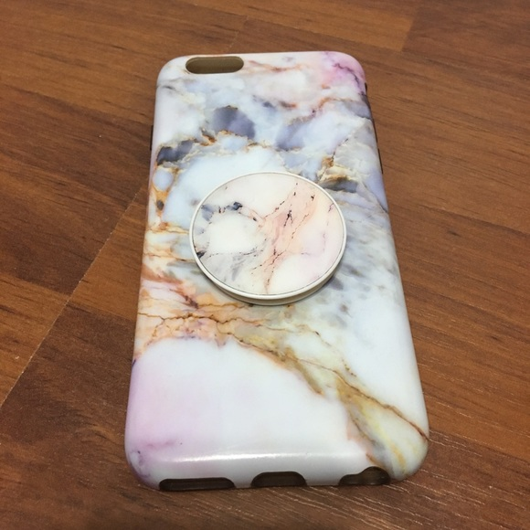 arrives bd8f8 e54d2 iPhone 6/6s Marble Gemstone Case w/ Popsocket